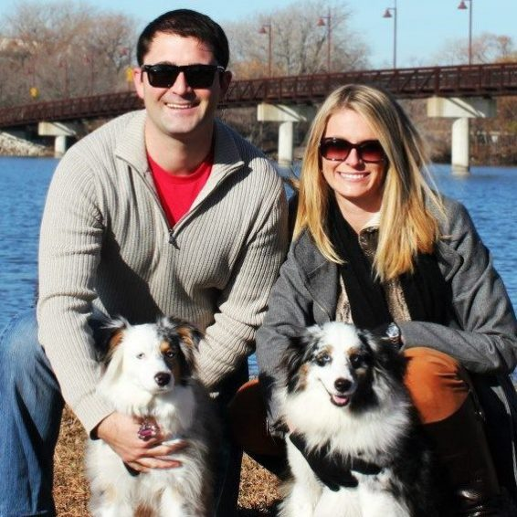 Alisa and Shawn Johnson, founders of Dogs on Deployment, with their dogs.