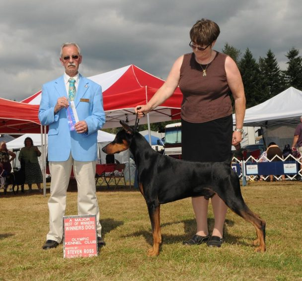 Rambo, with his handler, Elaine Hopper
