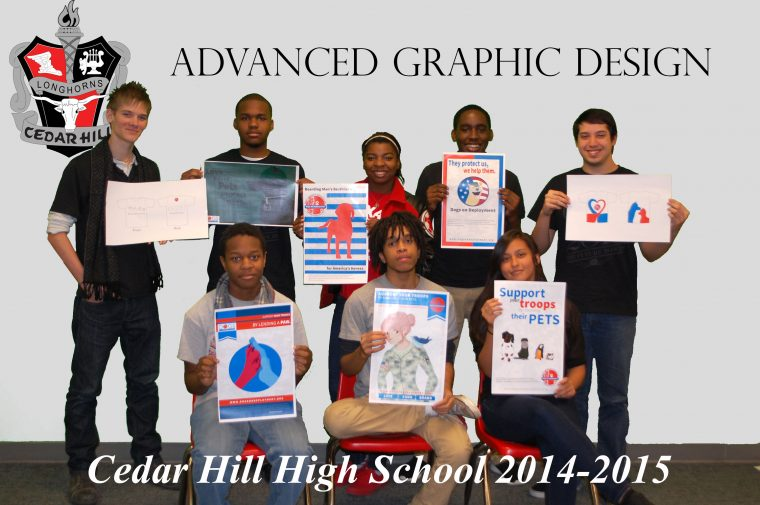 Aaron Kennedy's Graphic Design class, proudly displaying their completed projects.